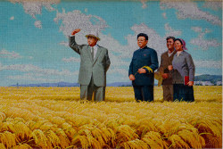 Mosaic picture of Leaders Kim Il Sung and Kim Jong Il and Chonsam cooperative farm near Wonsan in North Korea, DPRK, with KTG Tours