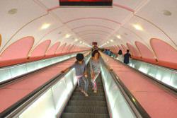 escalator at the Pyongyang metro in North Korea DPRK