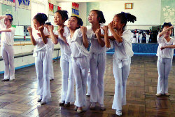 Children dancing at a dance lesson in Doksung primary school in Pyongsong city, North Korea. Trip to the DPRK arranged by KTG Tours