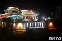 The Pyongyang Grand Theatre seen from the Pyongyang hotel at night, North Korea (DPRK)