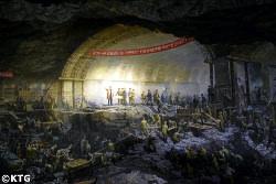 mural painting at the Pyongyang metro museum in Pyongyang, North Korea