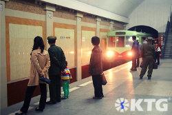 train entering the Pyongyang metro in North Korea, DPRK