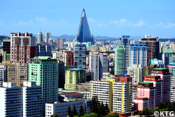 Architecture of Pyongyang. Skyline of the capital of the DPRK. Picture taken by KTG Tours specialists in North Korea travel