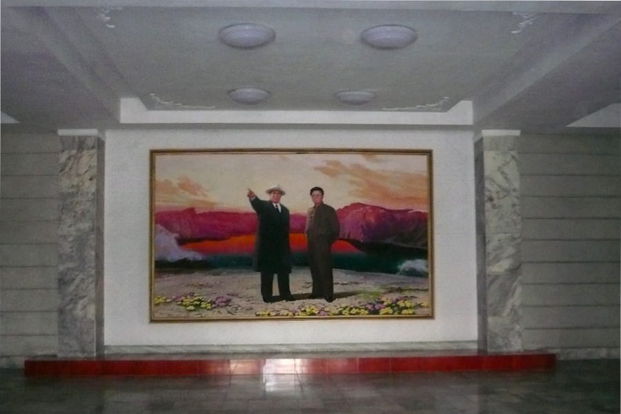 Portrait in the lobby of the Songdowon Hotel in North Korea, DPRK. Visit Wonsan city with KTG Tours