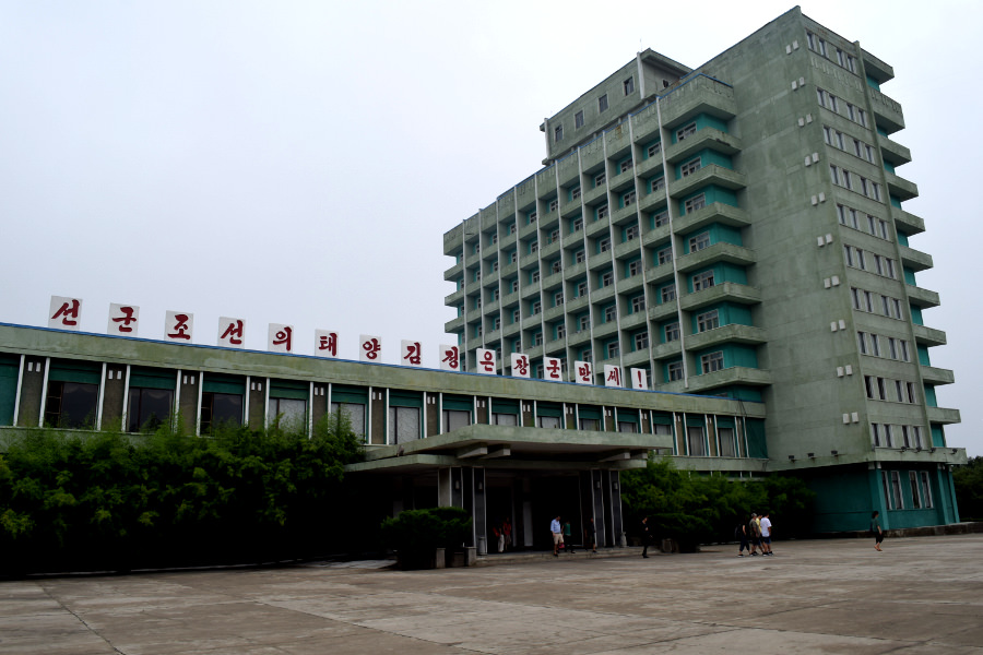 A blend of Soviet and Korean, the Songdowon Hotel is located in Wonsan city, North Korea, by the seafront. Picture taken by KTG Tours