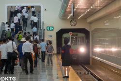 Pyongyang metro, North Korea. The Pyongyang metro is one of the deepest and most impressive in the world. Tour arranged by KTG Tours