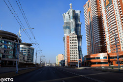 Galaxy Tower in Pyongyang. Unha tower is located in Mirae scientists street