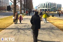 walking through Ryomyong new town in Pyongyang with KTG Tours