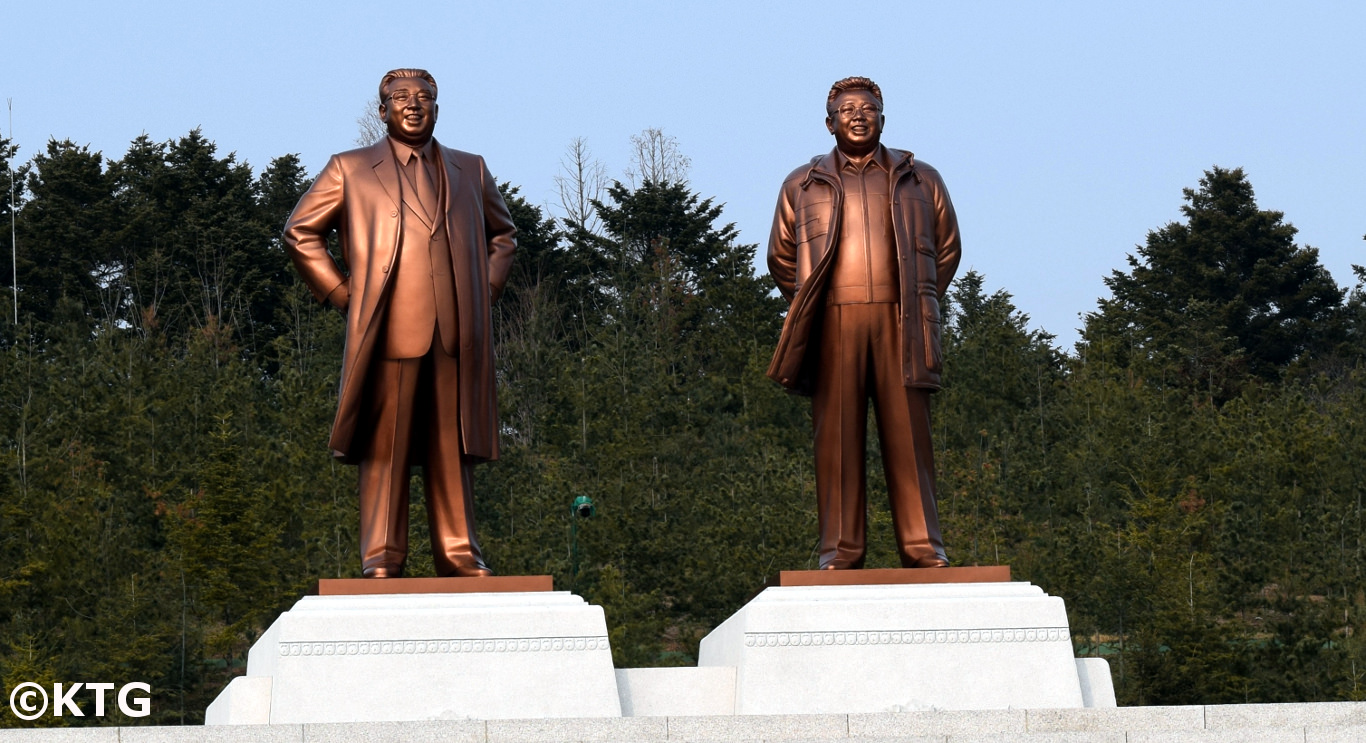 President Kim Il Sung and Chairman Kim Jong Il Statue on Janam Hill in Kaesong, North Korea (DPRK). Picture taken by KTG Tours