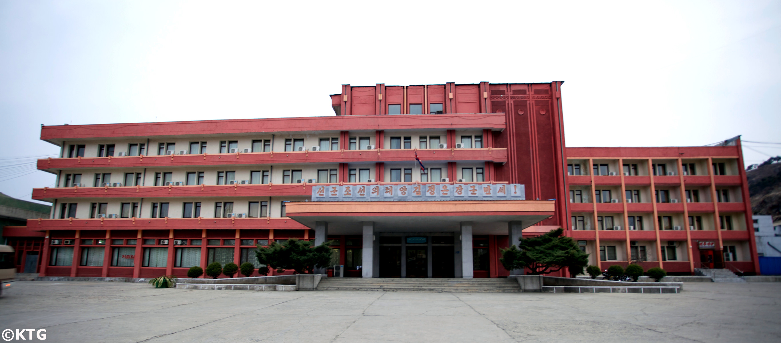 The Jangsusan Hotel in Pyongsong city, North Korea, DPRK. This is the only hotel in the city where foreigners can stay. Picture taken by KTG Tours.