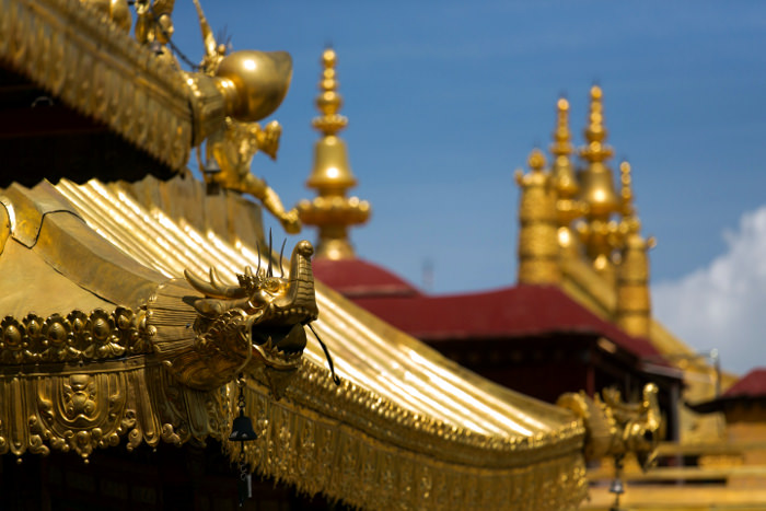Close-up view of Jokhang temple in Lhasa, Tibet, China