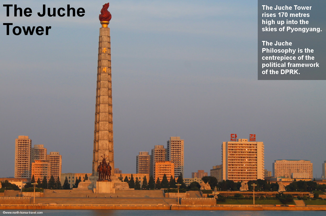 Juche Tower in Pyongyang across the Taedong River during sunset, North Korea