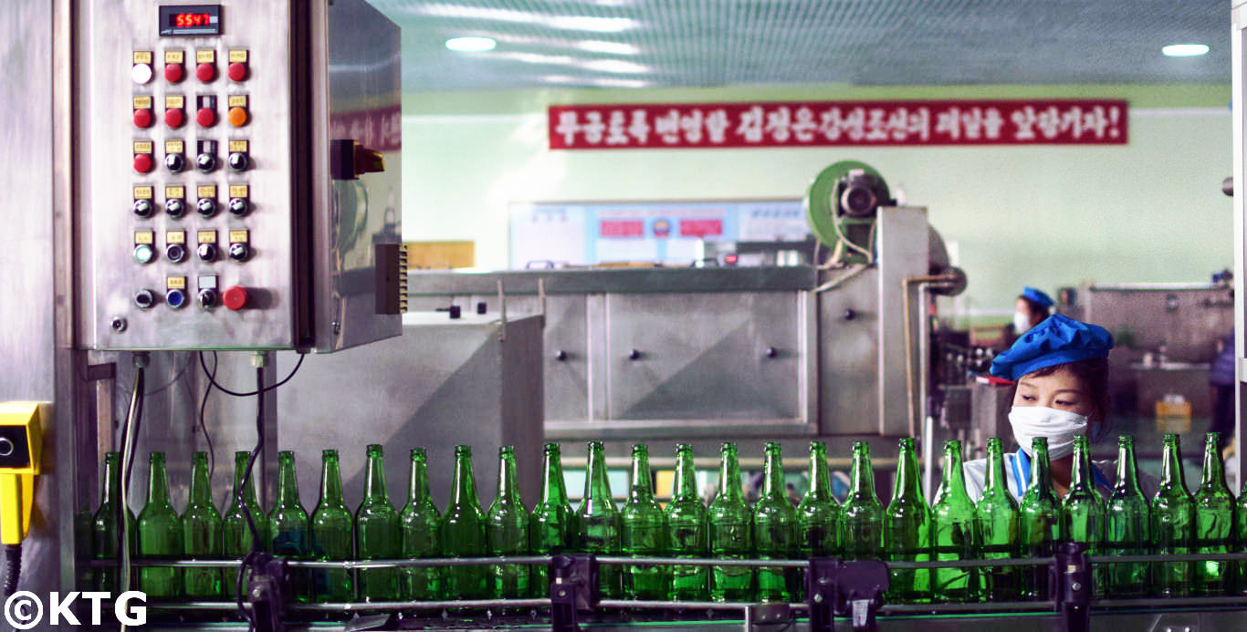 Kangso mineral water bottling factory near Nampo in North Korea. Picture taken by KTG Tours