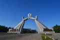Monumento de la Reunificación en la autopista de la reunificación al salir de Pyongyang en Corea del Norte (RPDC). Viaje organizado por KTG Tours