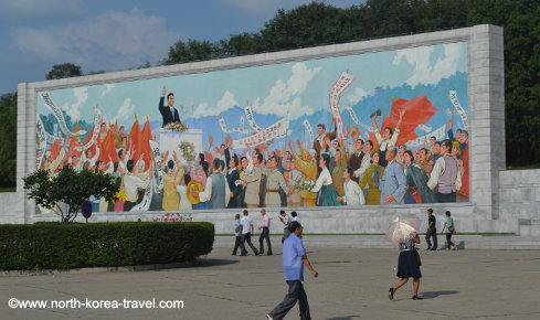 Kim Il Sung speech mural in Pyongyang