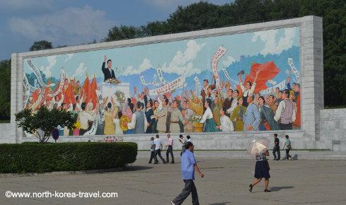 Image du discours du Président de la Corée du Nord, Kim Il Sung, près du Stade Kim Il Sung à Pyongyang