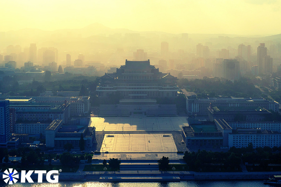 Views of Kim Il Sung Square and of part of Pyongyang capital of North Korea, DPRK, from the Juche tower. Picture property of KTG Tours