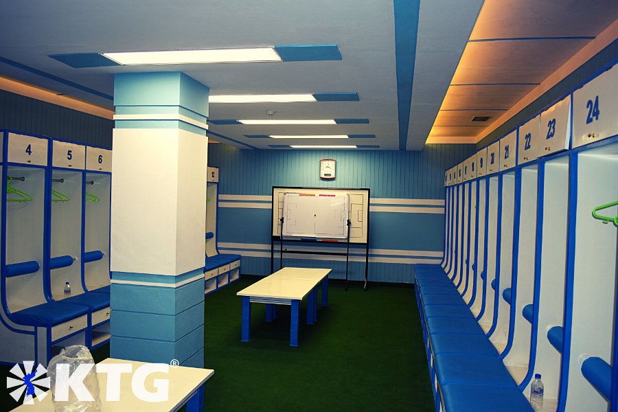 Lockers at Kim Il Sung Stadium in Pyongyang, capital city of North Korea, DPRK. The North Korean national team play their international games here. We also run through during the Pyongyang Marathon. Visit this stadium with KTG Tours.