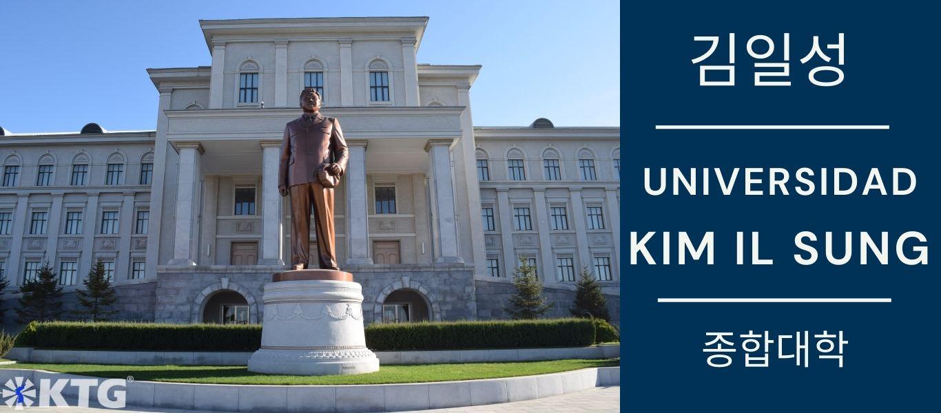 Estatua del Presidente Kim Jong Il en la Universidad Kim Il Sung, Pyongyang, capital de Corea del Norte (RPDC). Fotografía realizada por KTG Tours