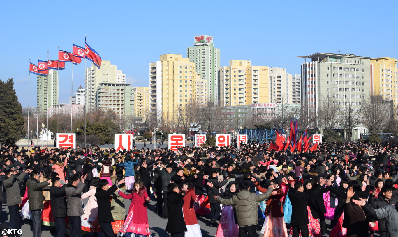 Mass Dances in Pyongyang with North Koreans on the Birthday of Kim Jong Il