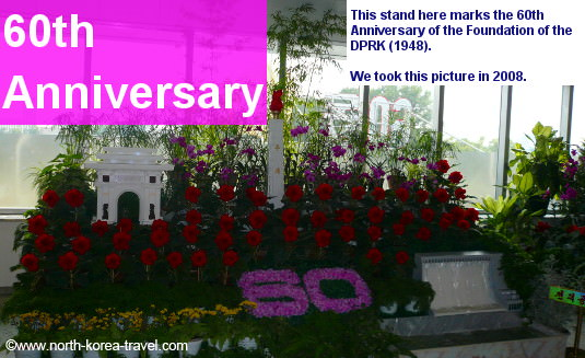 Kimjongilia and Kimilsungjia flowers marking the 60th Anniversary of the DPRK