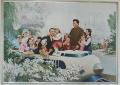 Imagen del Presidente de Corea de Norte Kim Il Sung y el Líderr Kim Jong Il con niños