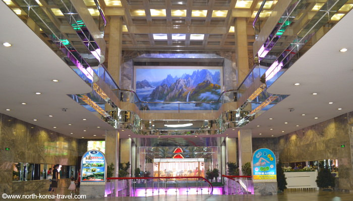 Koryo Hotel lobby. The hotel is located by the Pyongyang train station in North Korea