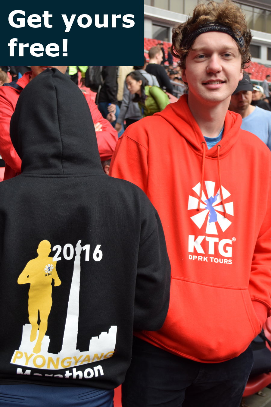 Ricevi una felpa gratuita della Maratona di Pyongyang ideata da KTG