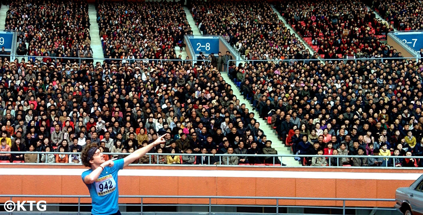 KTG rep at the Pyongyang Marathon posing as Ussain Bolt