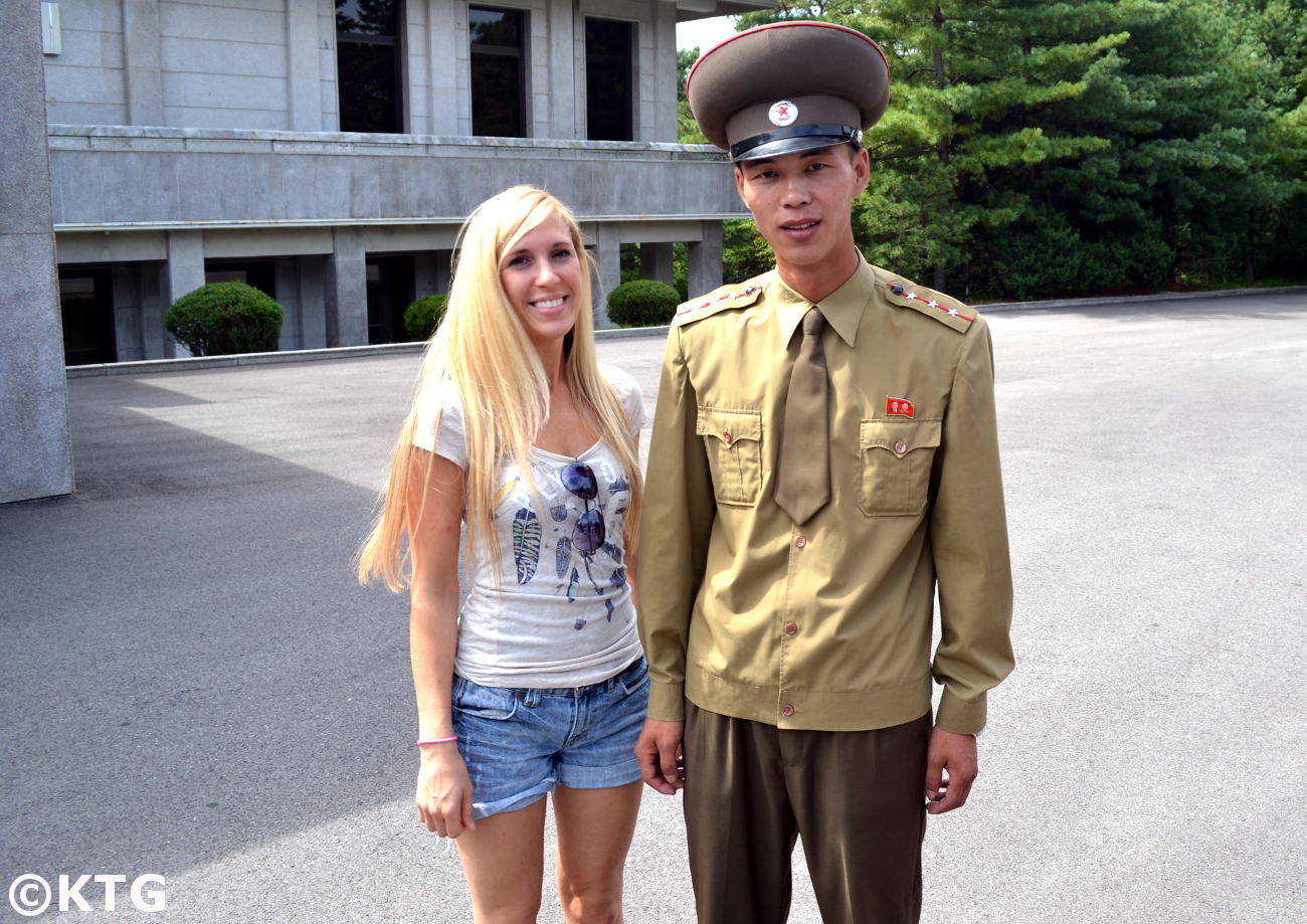 KTG traveller with a North Korean soldier at Panmunjom in the DPRK. The DMZ is one of the only places where we are allowed to take pictures with soldiers from North Korea
