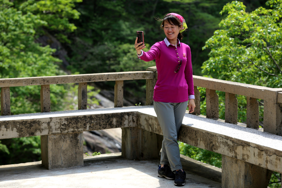 Korean guide in Kumgangsan (Mount Kumgang)