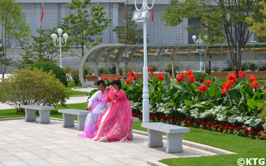 Ladies at the Kumsusan Memorial Palace in Pyongyang, North Korea, DPRK. Trip arranged by KTG Tours