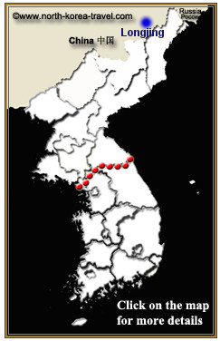 Map of Longjing, Yanbian, China bordering North Korea