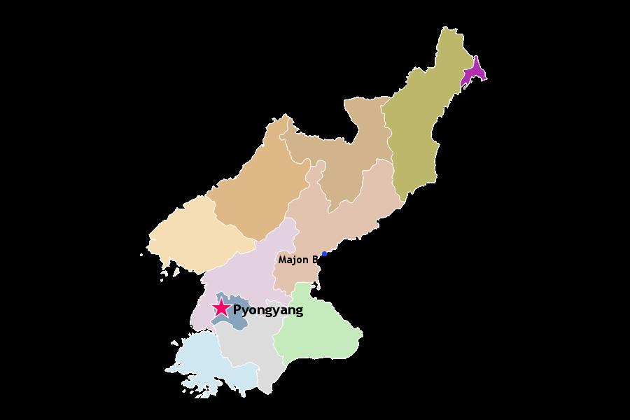ubicación de Majon en un mapa de Corea del Norte