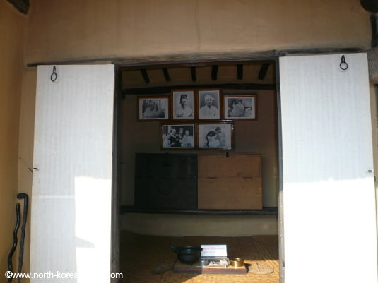 Pictures of Kim il Sung's relatives in his childhood home, the Mangyongdae Native House in Pyongyang