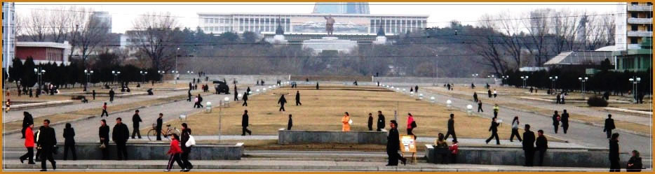 View of Mansudae Grand Monument in Pyongyang