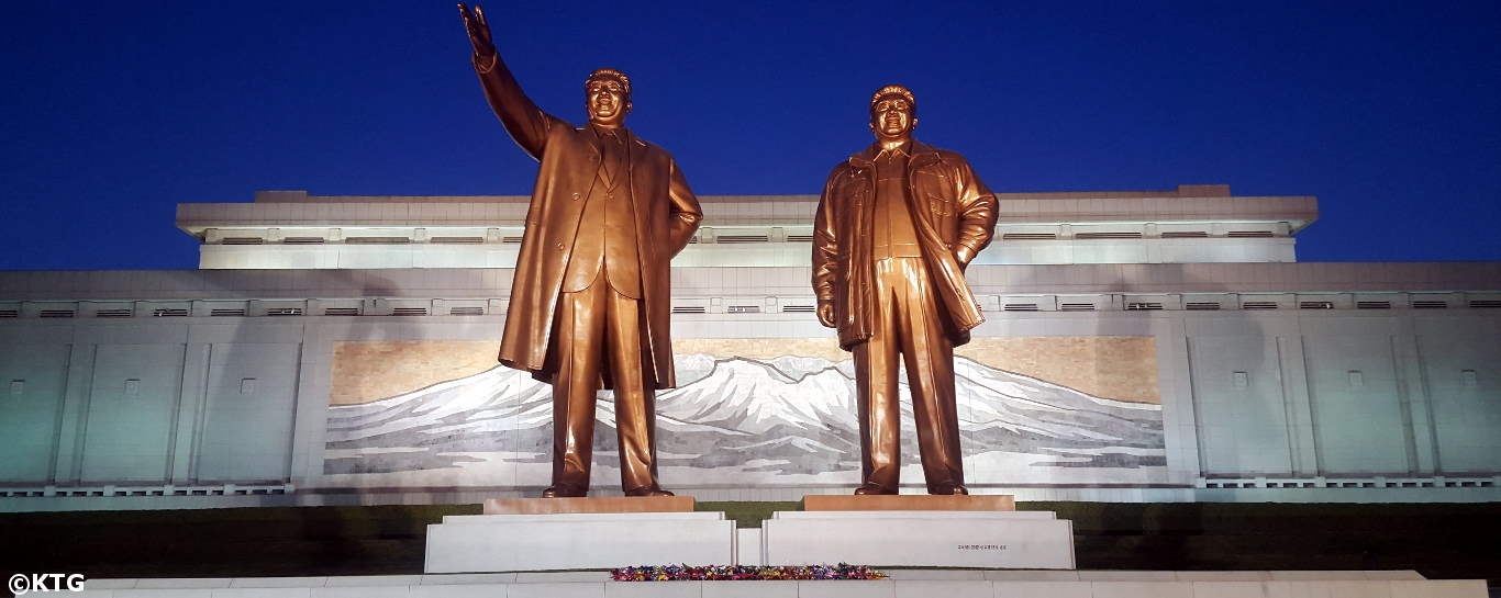 Mansudae Grand Monuments at night, Pyongyang (DPRK)
