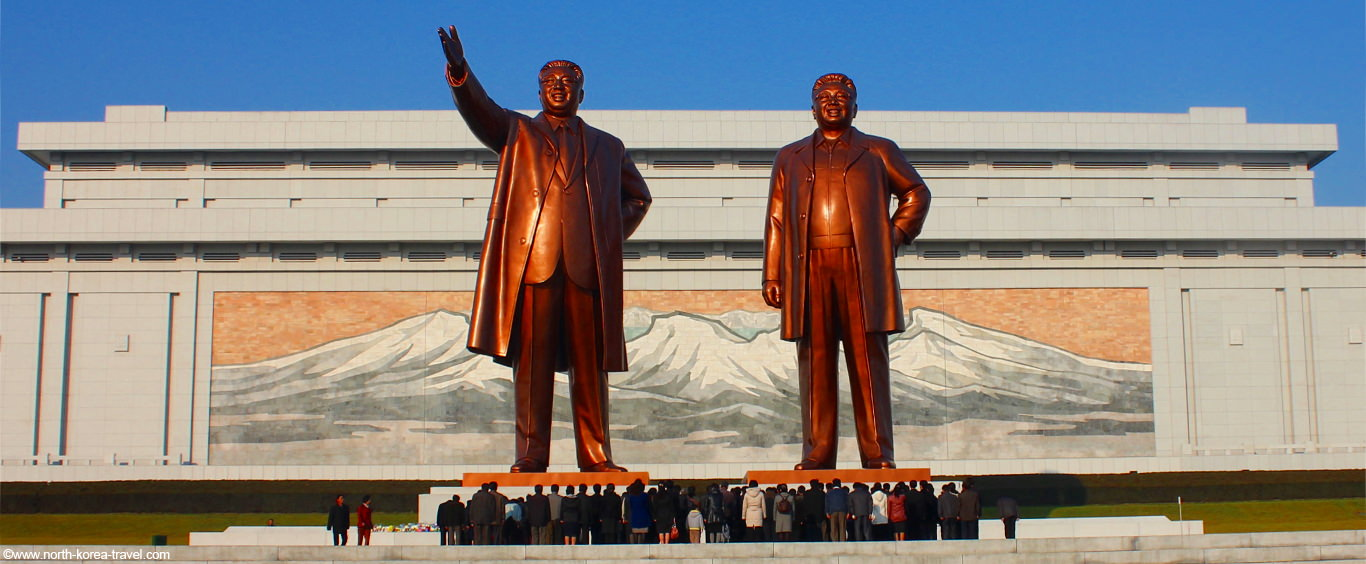 Mansudae Grand Monuments - giant bronze statues of Kim Il Sung and Kim Jong Il in Pyongyang, North Korea
