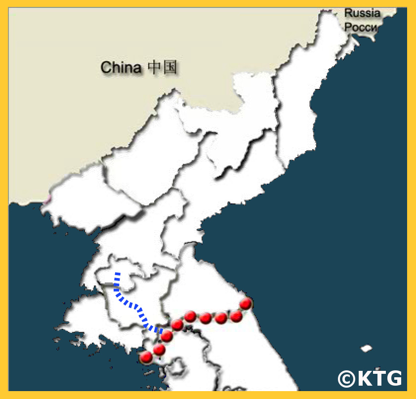 Map from Pyongyang to Panmunjom in the DMZ, North Korea (DPRK). Join KTG® Tours to see the JSA from North Korea