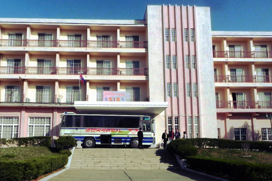 March 8 Hotel in Sariwon city, North Korea, on May Day. The hotel is named after International Women's Day. Picture taken by KTG Tours