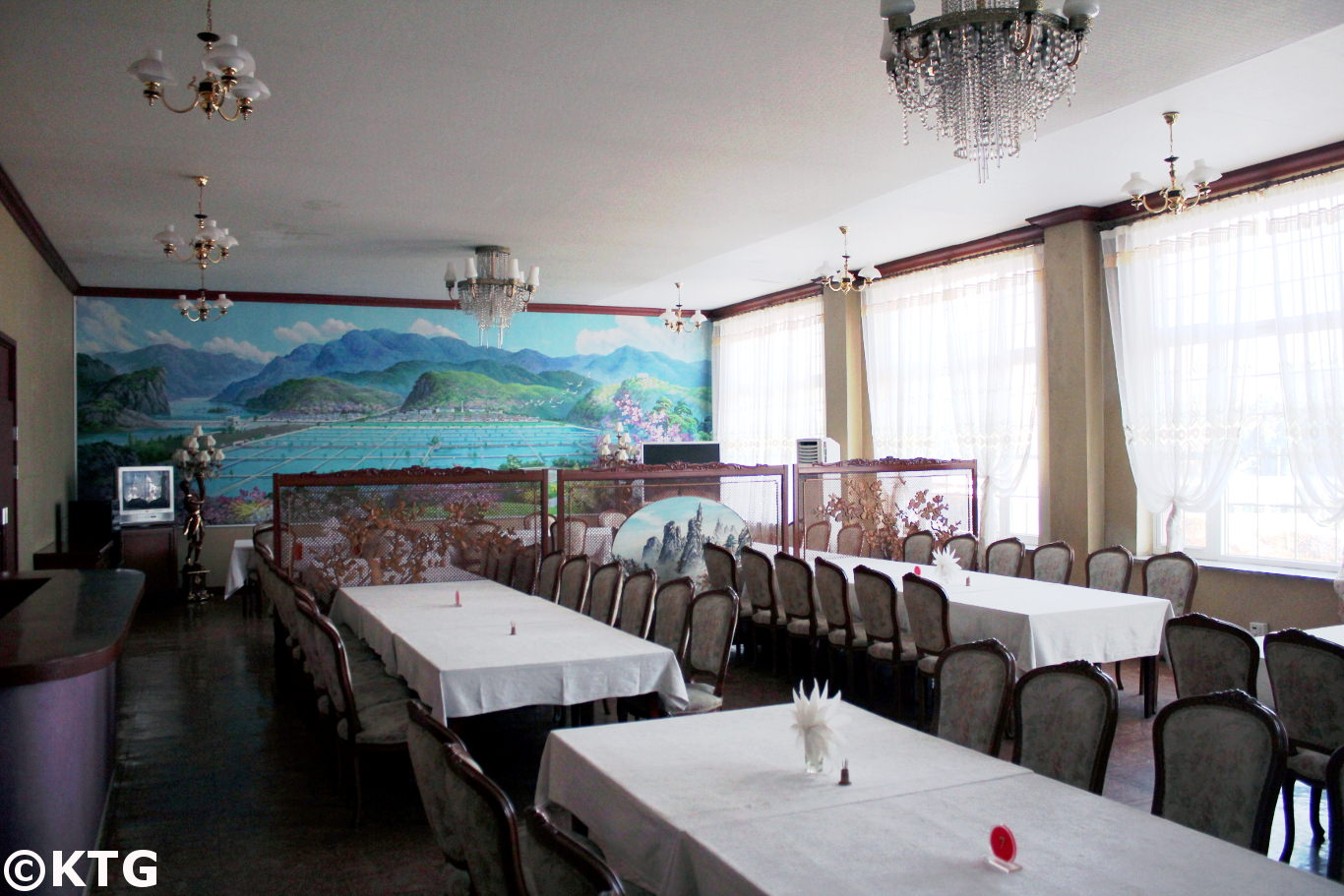 Restaurant at the Sariwon March 8 Hotel in North Korea, DPRK. Picture taken by KTG Tours. What you see in the picture is a local fish farm, Bomanri, located between Pyongyang and Kaesong in North Hwanghae Province