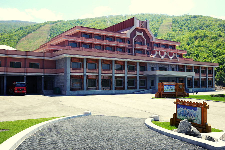 Masik ski resort in North Korea, DPRK, in summer. Trip arranged by KTG Tours