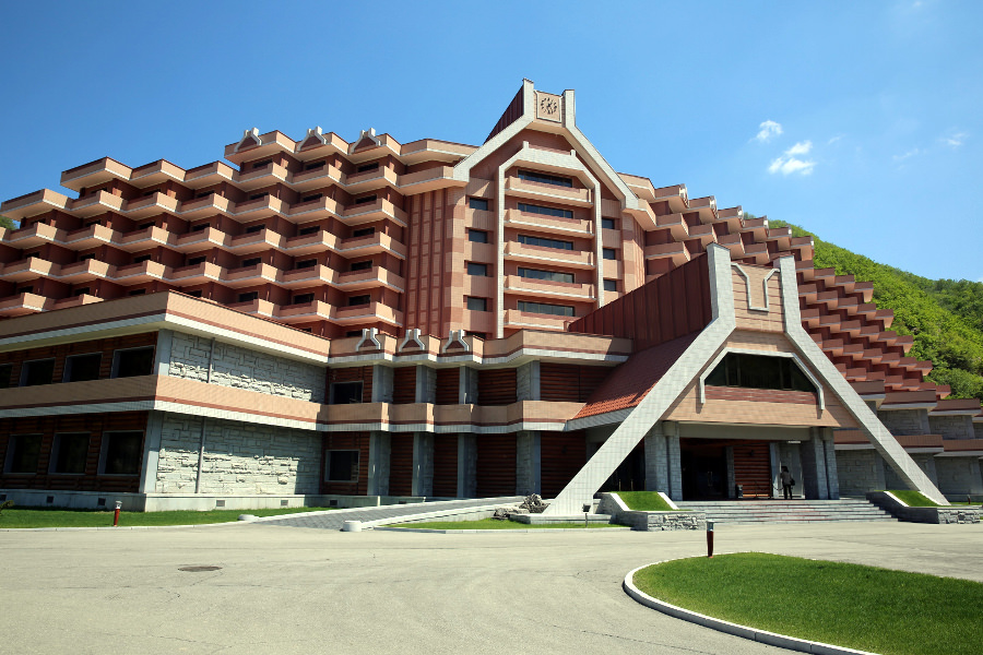 The Masikryong Hotel at the Masik ski resort in the DPRK in summer. Tour to North Korea arranged by KTG Tours