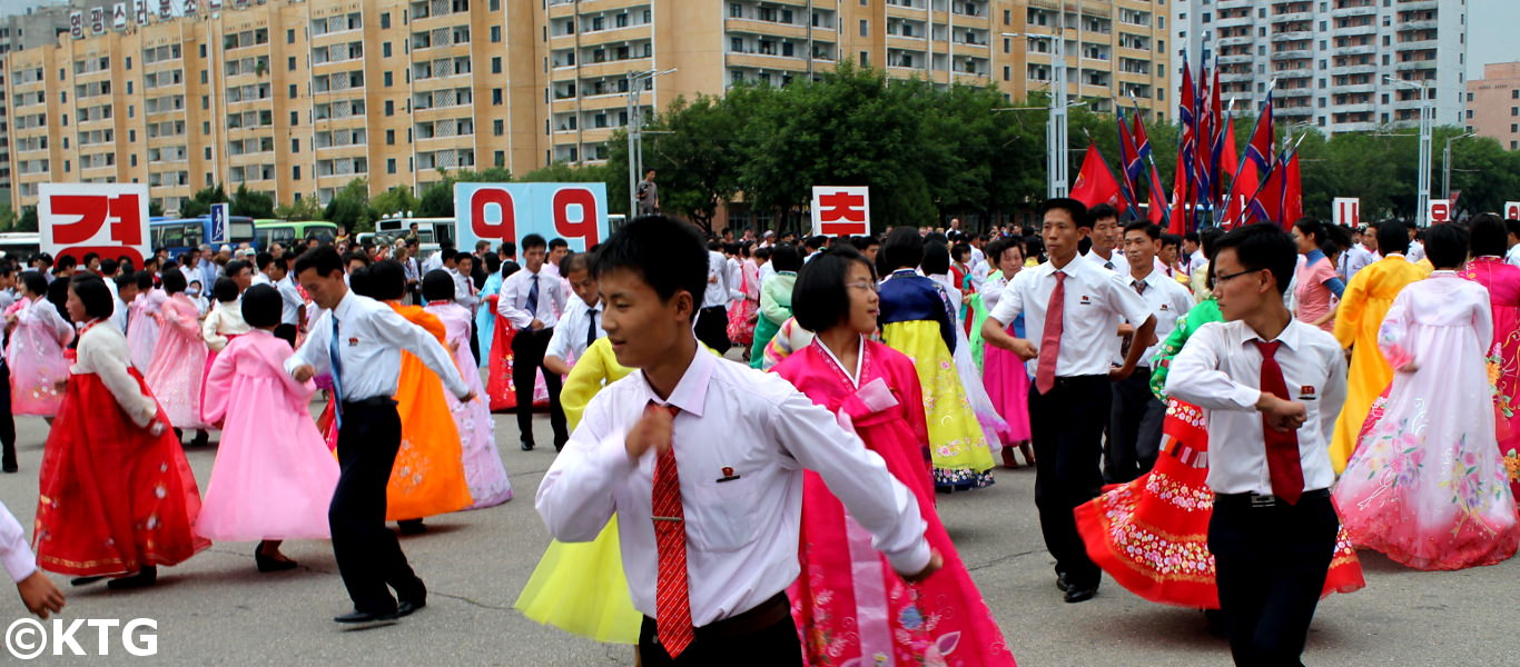 Locals celebrating National Day in North Korea. 9 September 1948 is when the DPRK was established. Picture taken by KTG