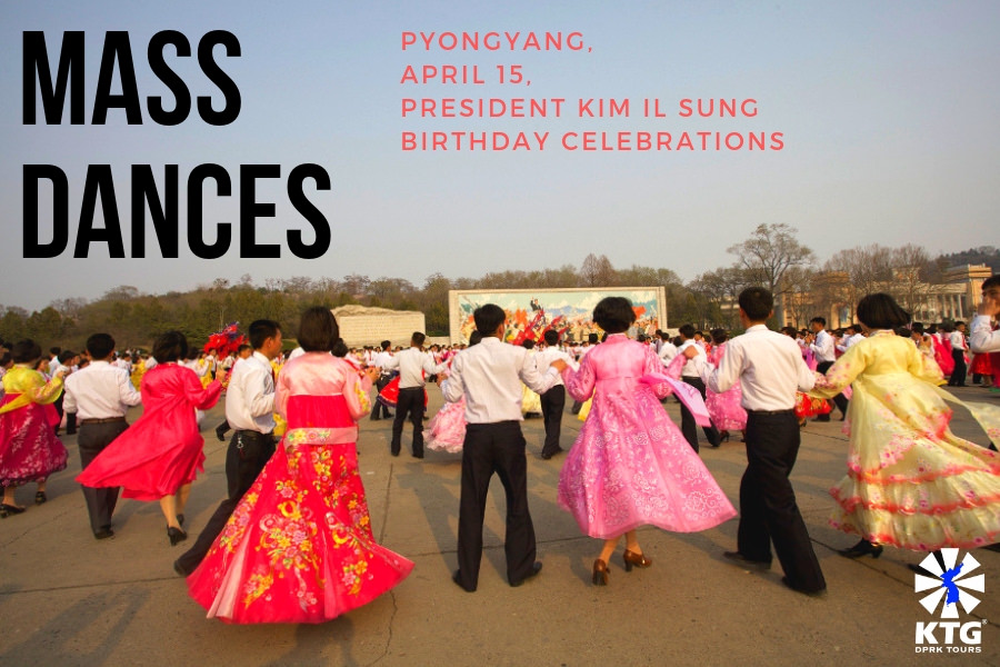 Kim Il Sung birthday mass dances, Pyongyang (North Korea) with KTG