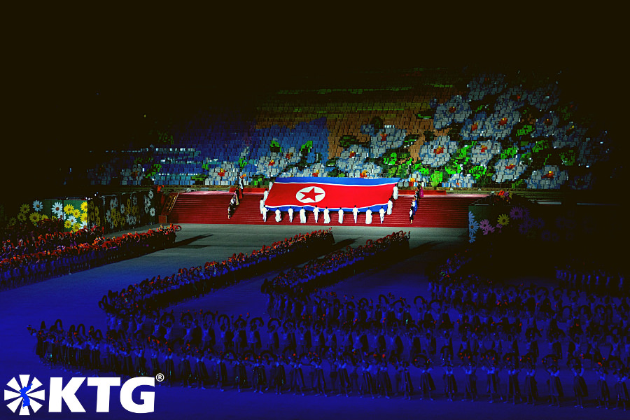 North Korean flag at the Mass Games in Pyongyang capital of North Korea, DPRK. Photo in North Korea taken by KTG Tours