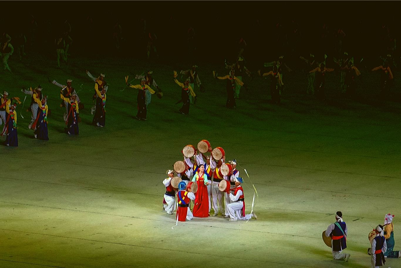 Artistic performance during the Mass Games held in Pyongyang, capital of North Korea aka DPRK. Tour arranged by KTG