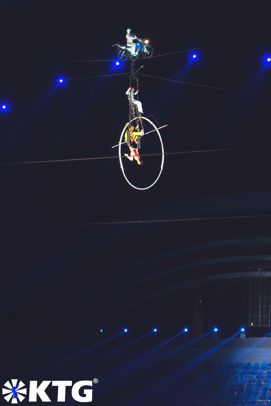Motorbike on a line and acrobatics show at the Mass Games in North Korea, DPRK. Photo in North Korea taken by KTG Tours