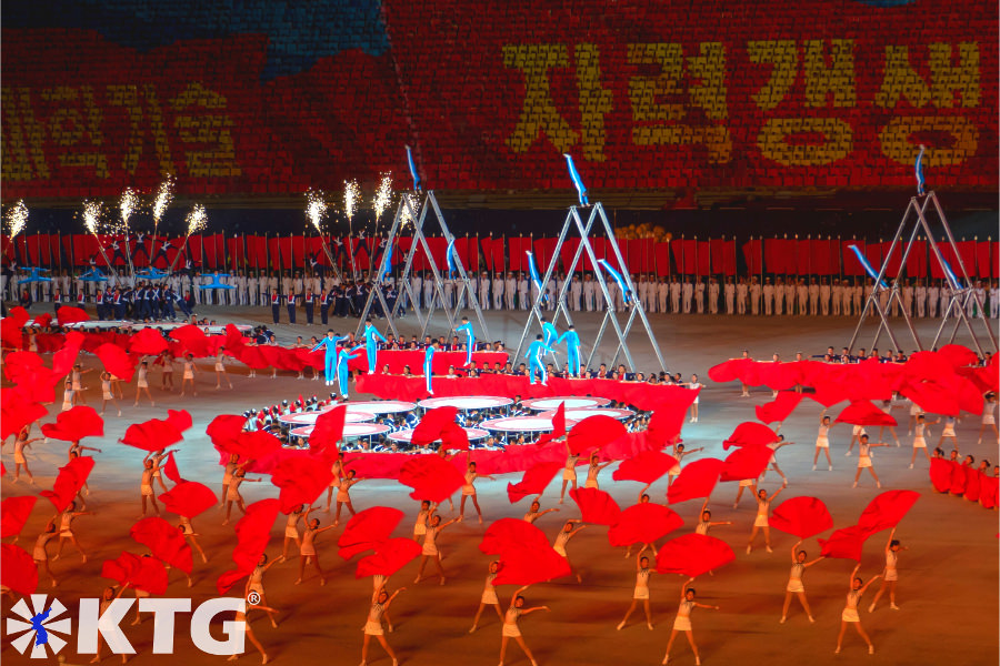 Grand gymnastics acrobatic performance North Korea, DPRK. Photo in North Korea taken by KTG Tours
