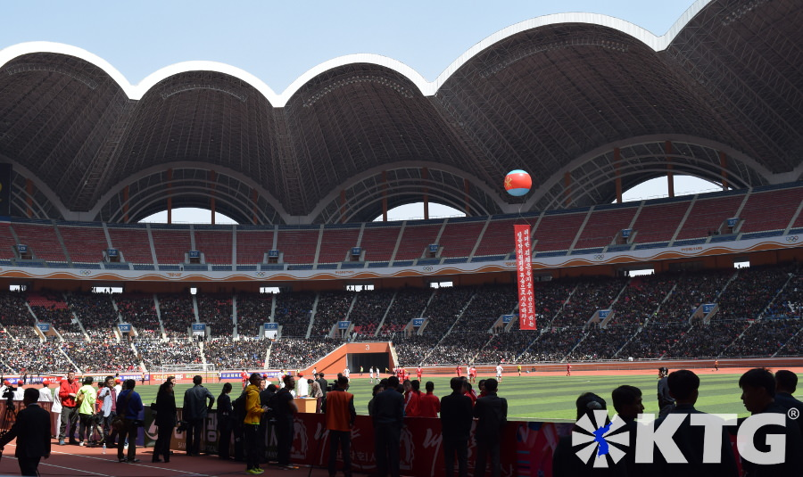 Football match at the Rungrado May Day Stadium during the 2016 Pyongyang Marathon, capital of North Korea, DPRK. Picture taken by KTG Tours
